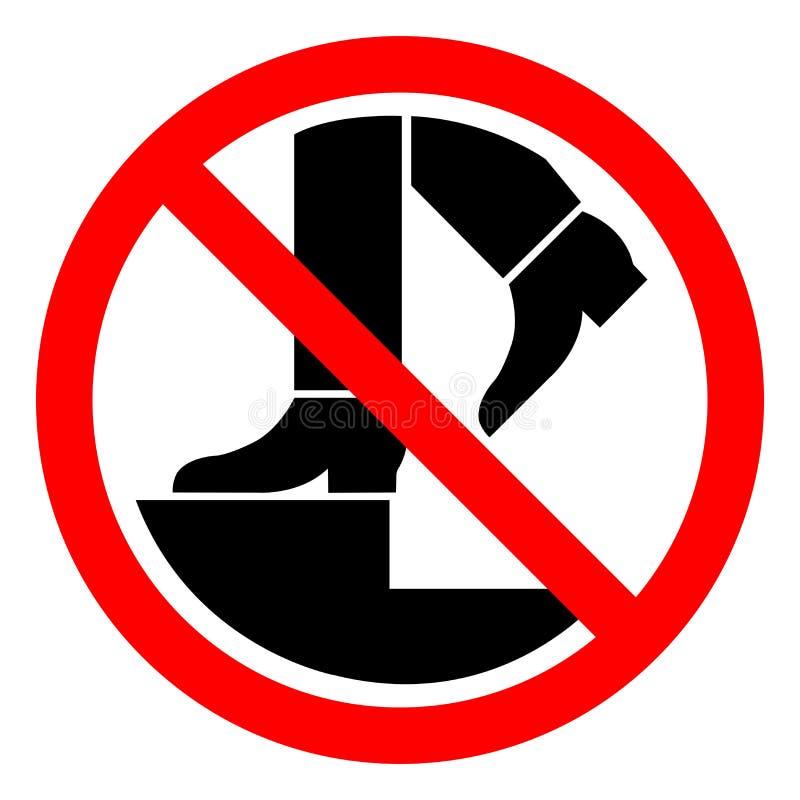 Żadny kroka symbolu znak, Wektorowa ilustracja, Odizolowywa Na Białej tło etykietce EPS10 royalty ilustracja