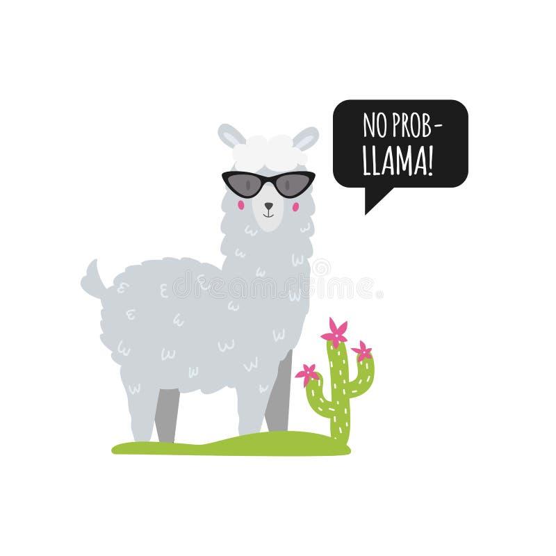Żadny lama Śliczny chromy z bąblem, okularami przeciwsłonecznymi i kaktusem mowy, odosobniony wektor royalty ilustracja