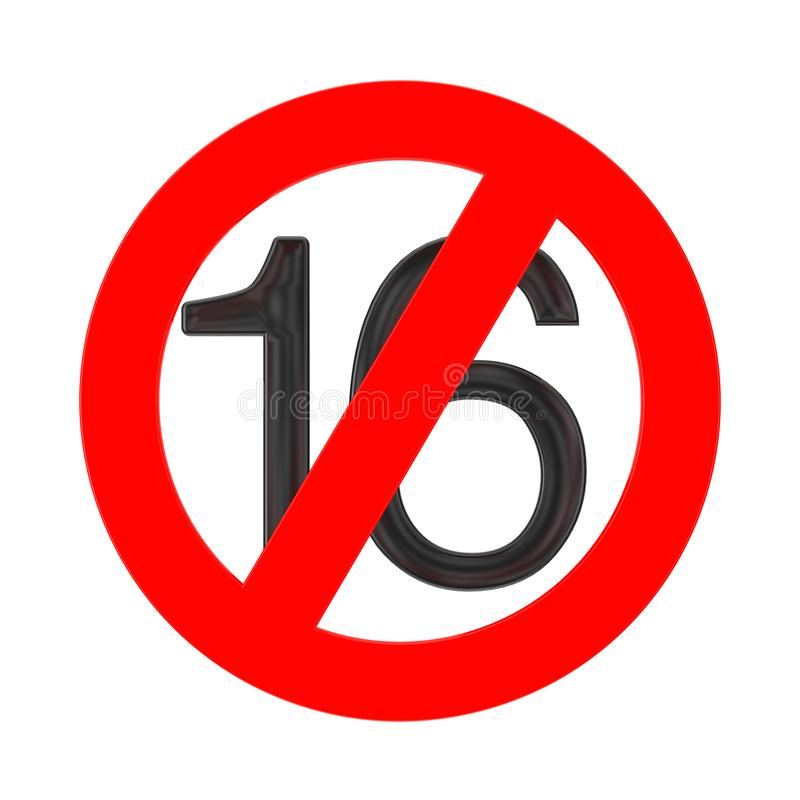 Żadny 16 lat pojęcie Pod Szesnaście rok prohibicja znaka ?wiadczenia 3 d ilustracji