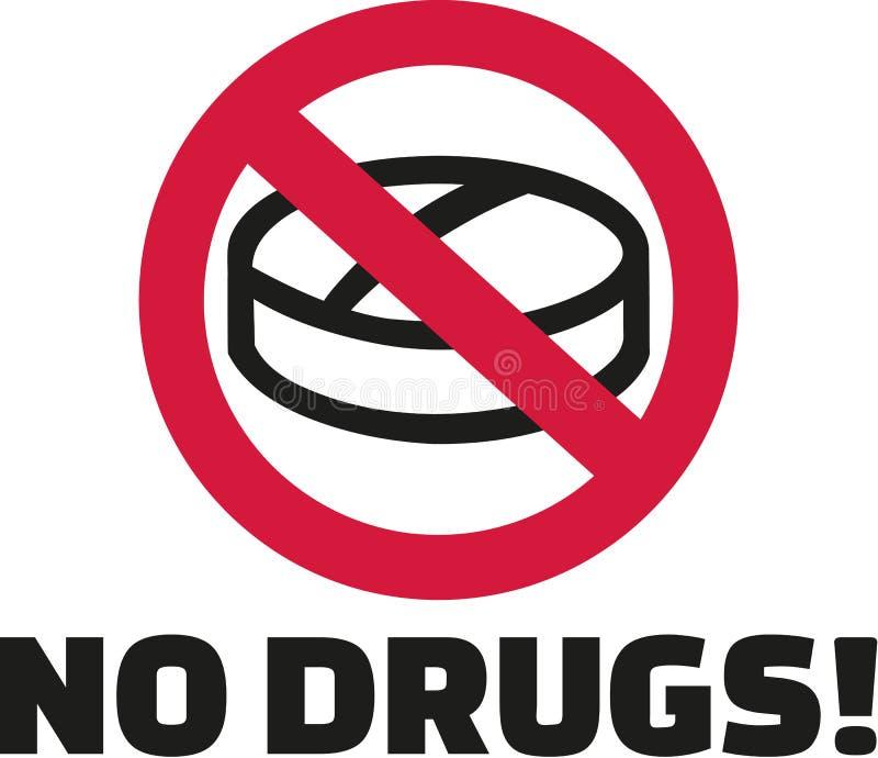Żadny leki - pastylka w zakazu znaku ilustracja wektor