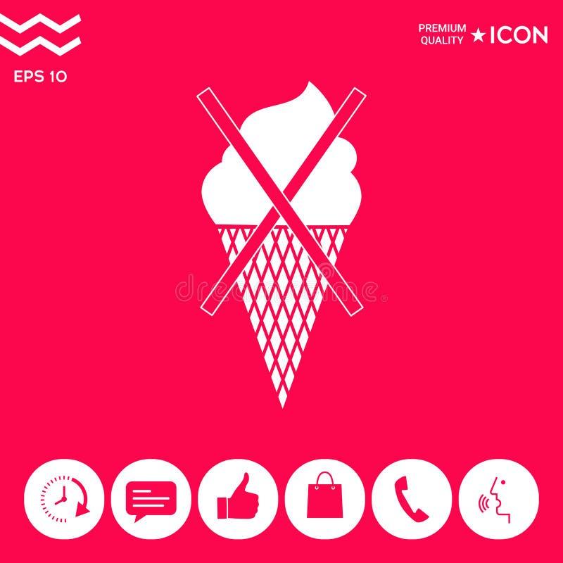 Żadny lody symbolu ikona royalty ilustracja