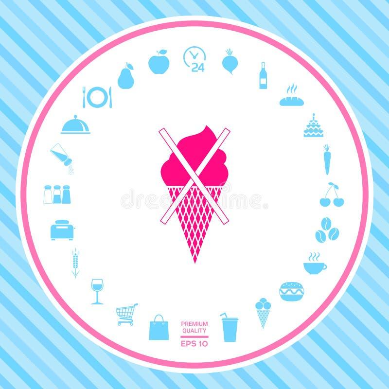 Żadny lody symbolu ikona ilustracji