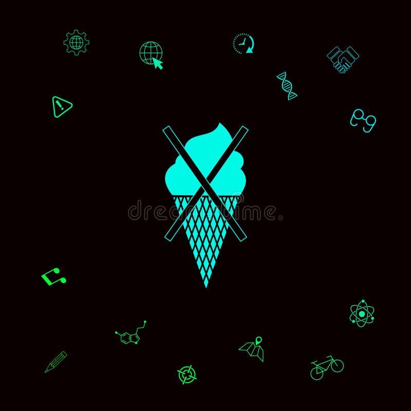 Żadny lody symbolu ikona Graficzni elementy dla twój designt ilustracji