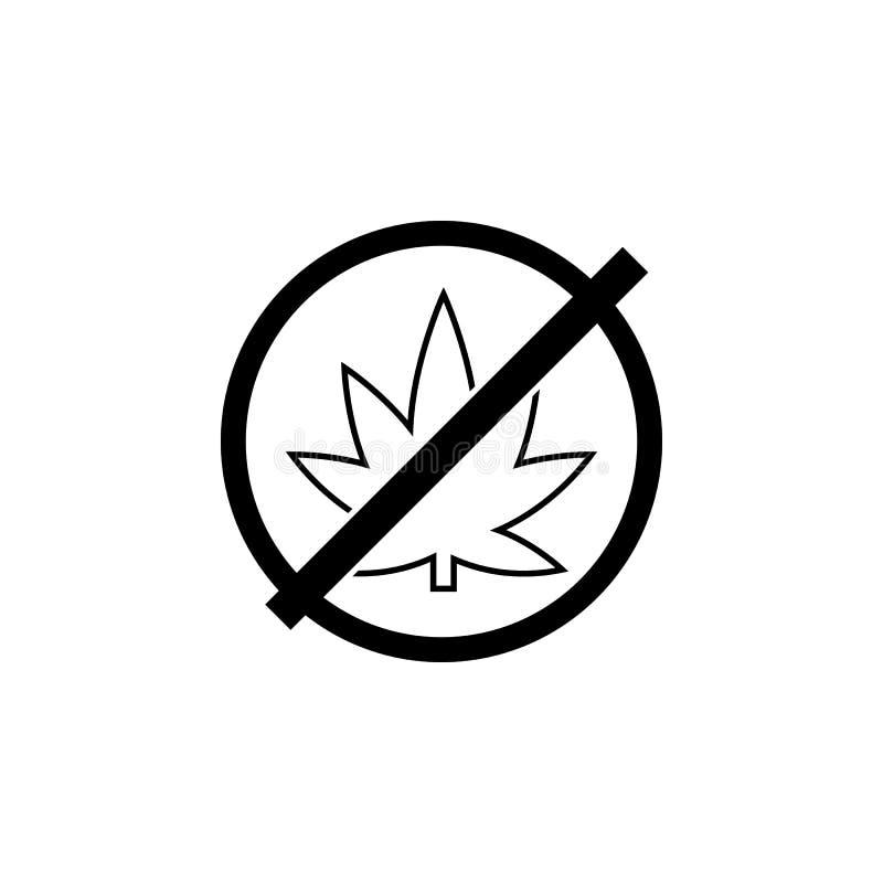 Żadny marihuany ikona Ludzka słabość, nałogu elementu ikona Premii ilości graficzny projekt Znaki, konturów symboli/lów inkasowa  ilustracji