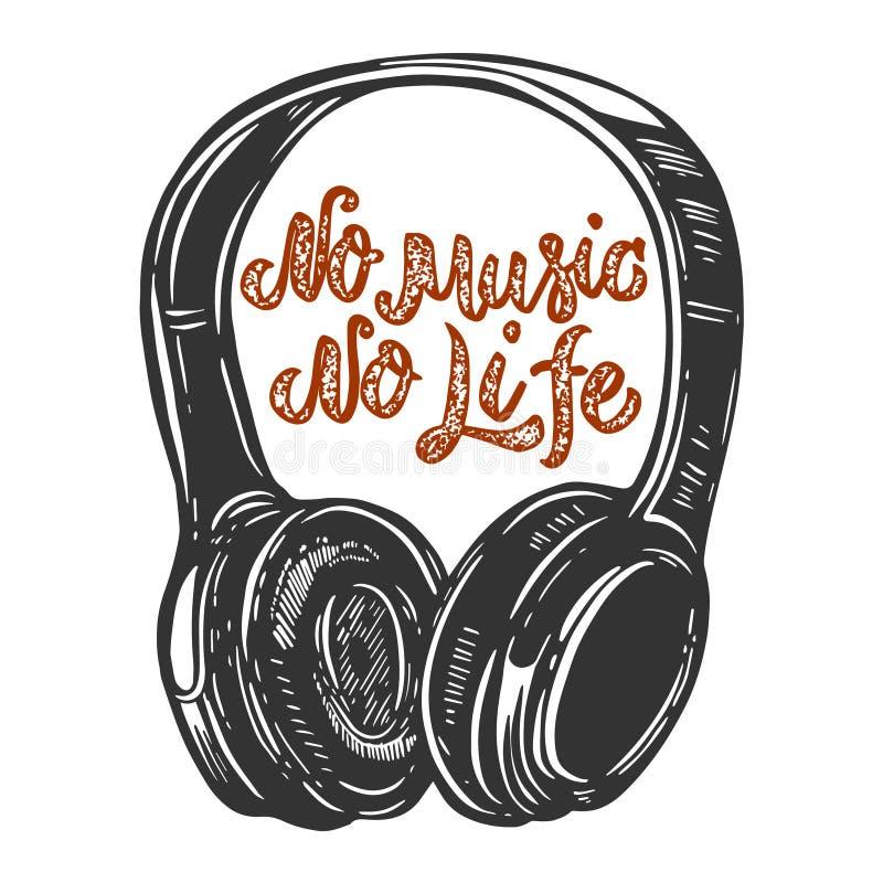 Żadny muzyka żadny życie Pisać list zwrot z hełmofonami Projektuje element dla plakata, karta, sztandar, znak, t koszula ilustracji