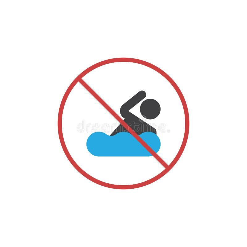 Żadny pływacka terenu mieszkania ikona ilustracji