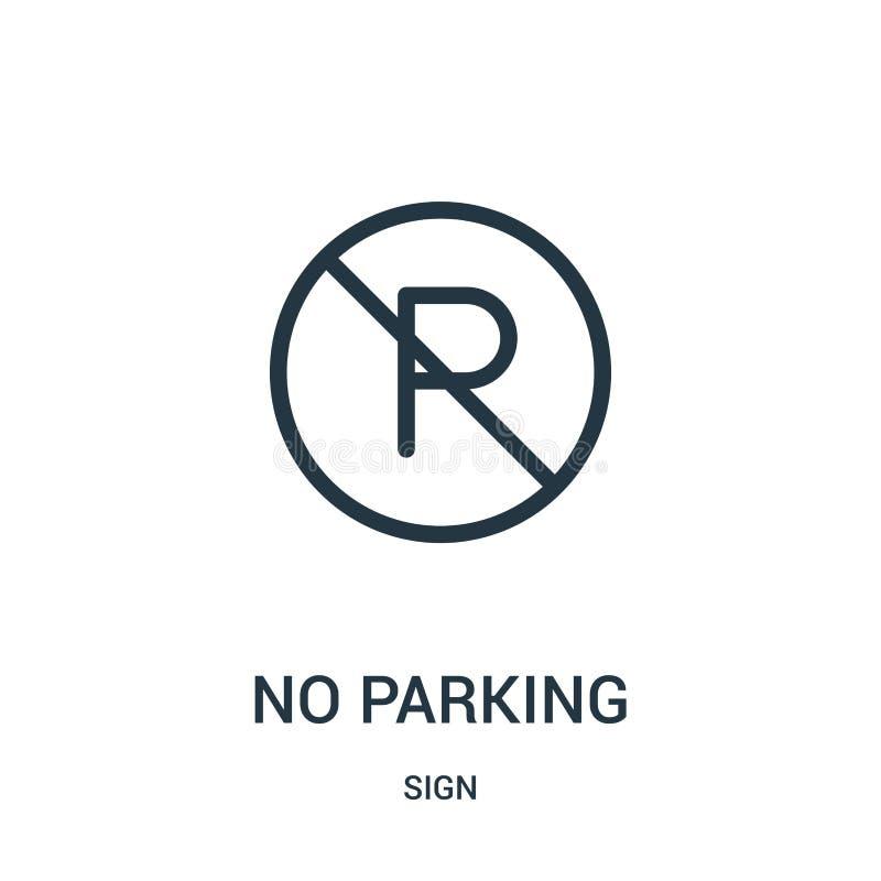 żadny parking ikony wektor od szyldowej kolekcji Cienka linia żadny parking konturu ikony wektoru ilustracja ilustracja wektor