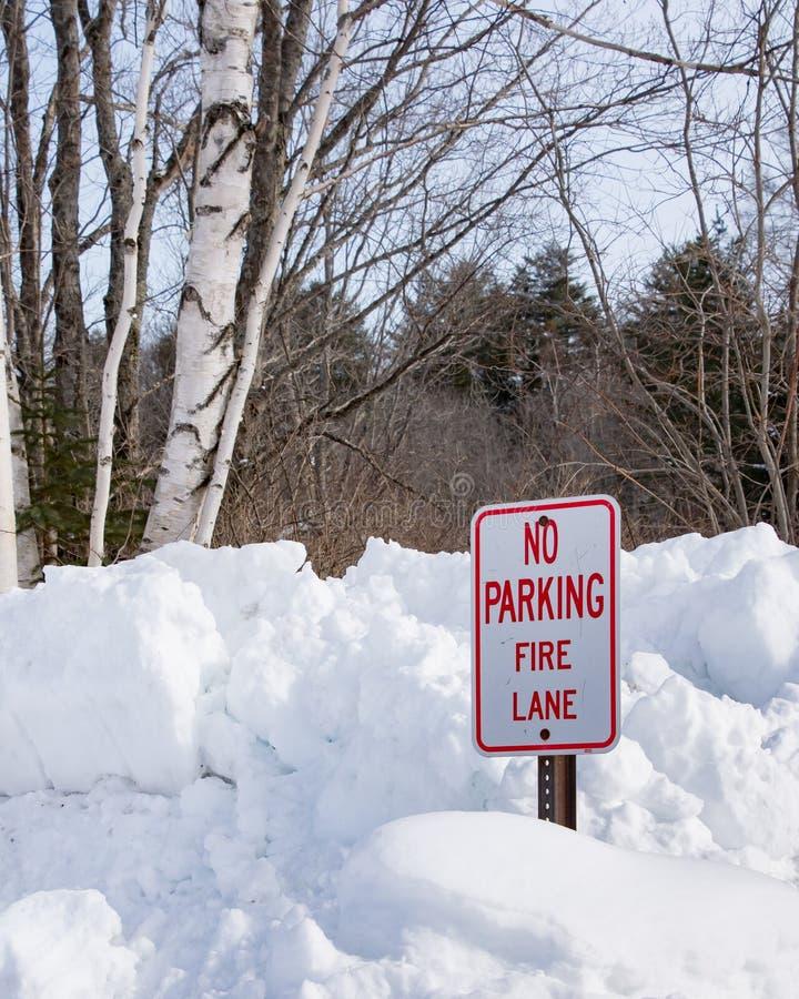 Żadny parking - pożarniczego pas ruchu znak fotografia royalty free