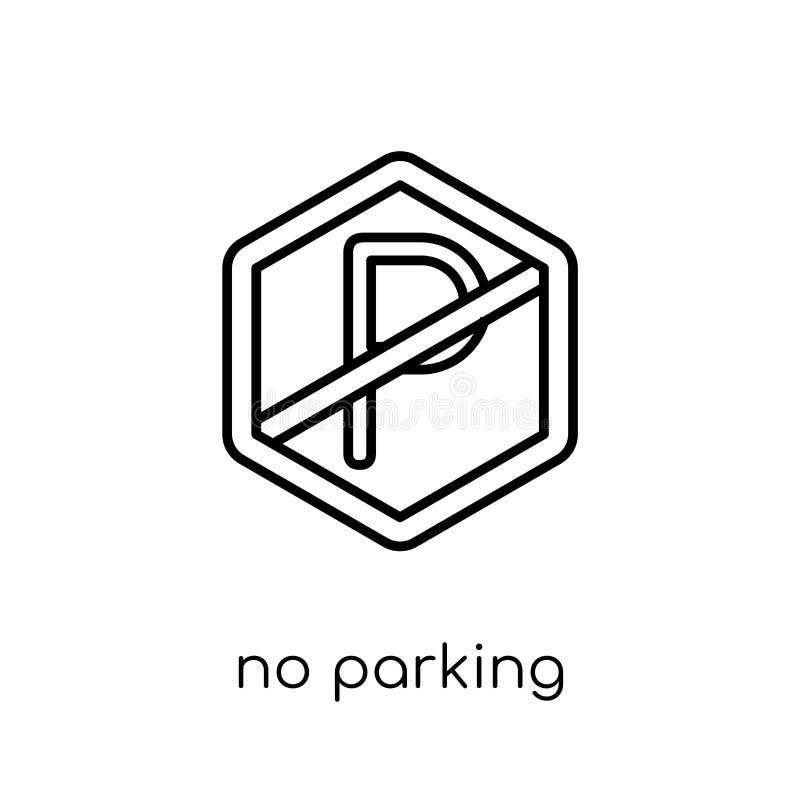 Żadny parking znaka ikona Modny nowożytny płaski liniowy wektor Żadny parkin royalty ilustracja