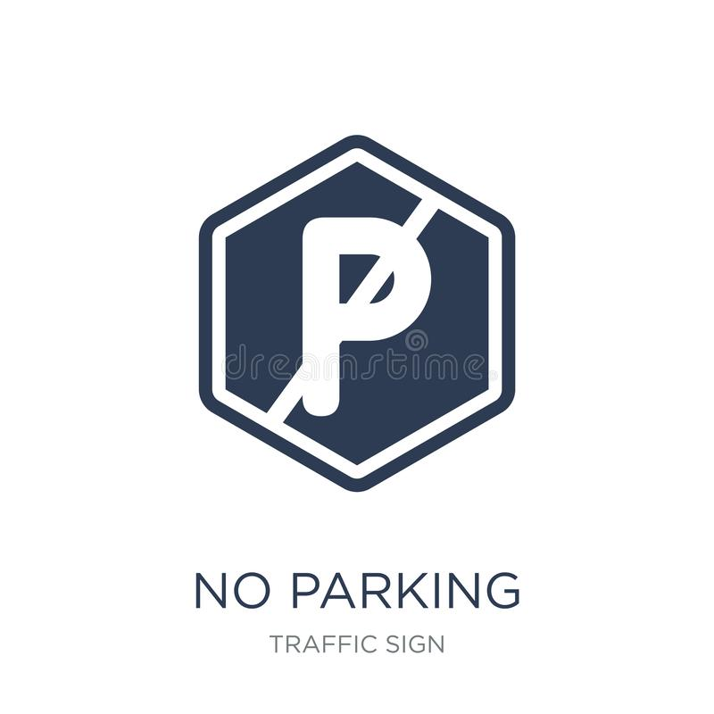 Żadny parking znaka ikona Modny płaski wektor Żadny parking znaka ikona dalej ilustracja wektor