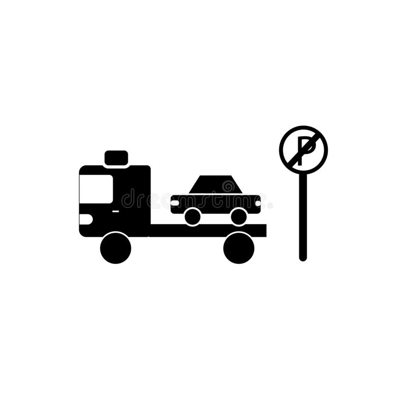 Żadny parking znaka ikony wektor odizolowywający na białym tle, Żadny norma royalty ilustracja