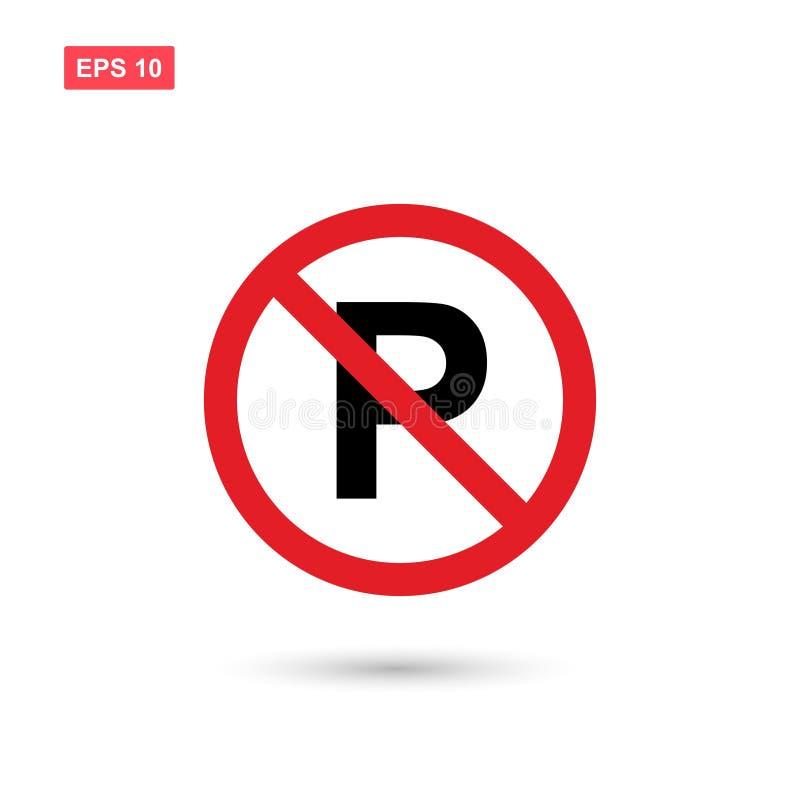 Żadny parking znaka wektor odizolowywający ilustracja wektor
