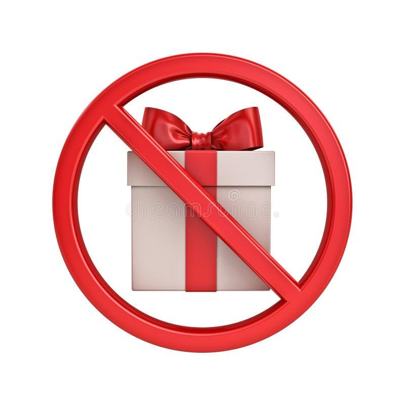 Żadny prezenta pojęcia znaka ikony teraźniejszości pudełka symbolu prohibicji znaka przerwy Czerwony symbol odizolowywający na bi royalty ilustracja