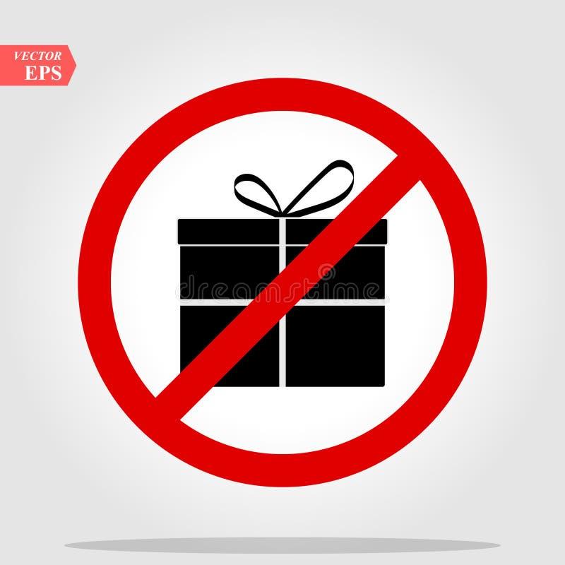 Żadny prezenta pudełka znaka ikona Tera?niejszy symbol Czerwony prohibicja znak przesta?, symbol wektor ilustracja wektor