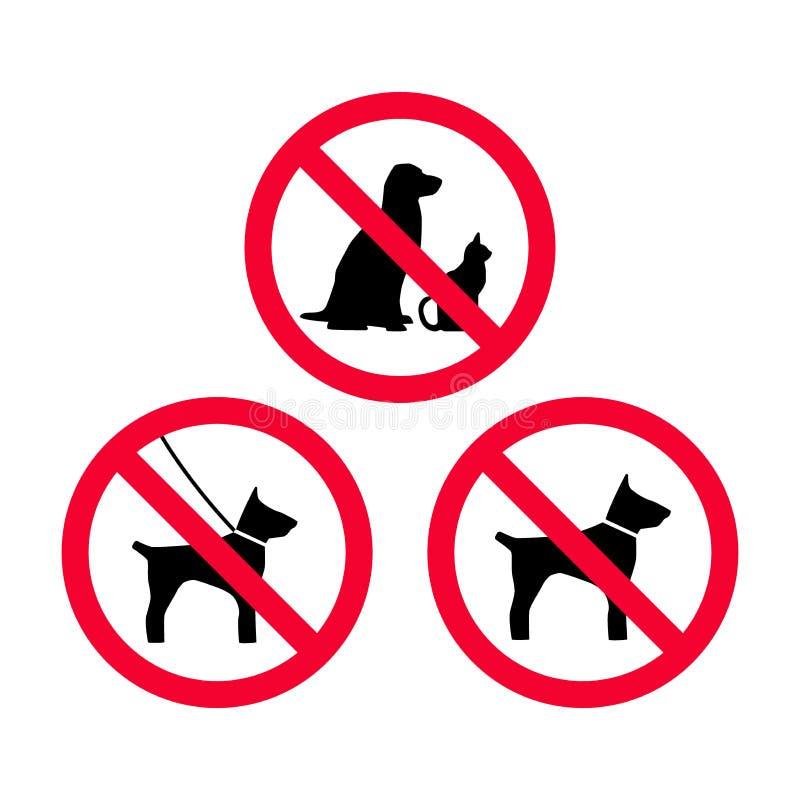 Żadny psy, żadny zwierzęta domowe, żadny smyczy psy, żadny bezpłatnych psów prohibici czerwony znak royalty ilustracja