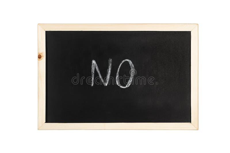 Żadny słowo pisze w kredzie na blackboard obrazy stock