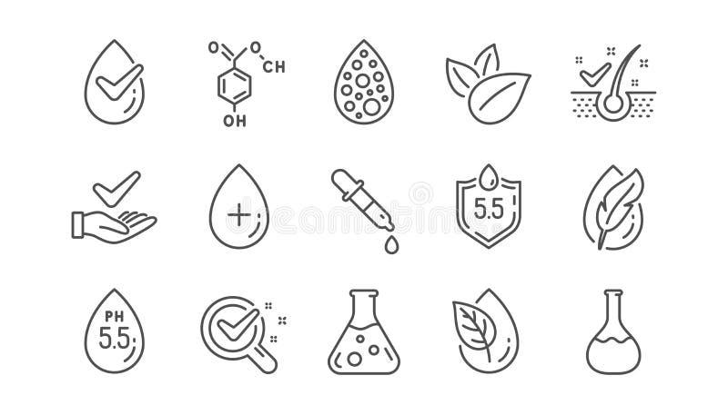 Żadny sztuczni kolory, Dandruff płatki uwalniają kreskowe ikony Dermatologically badał, Organicznie Liniowy set wektor ilustracji