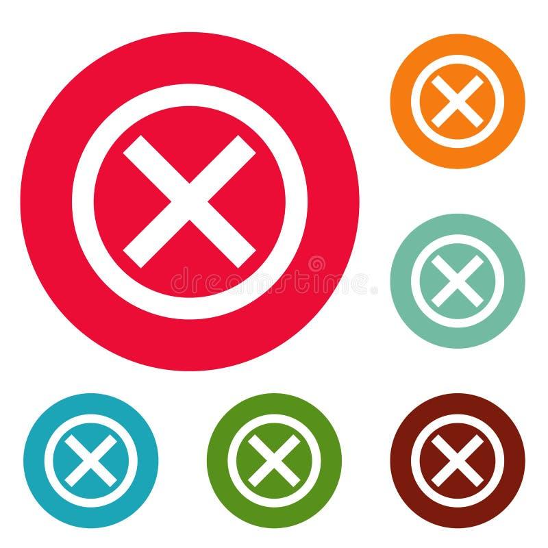 Żadny szyldowy ikona okręgu set ilustracja wektor