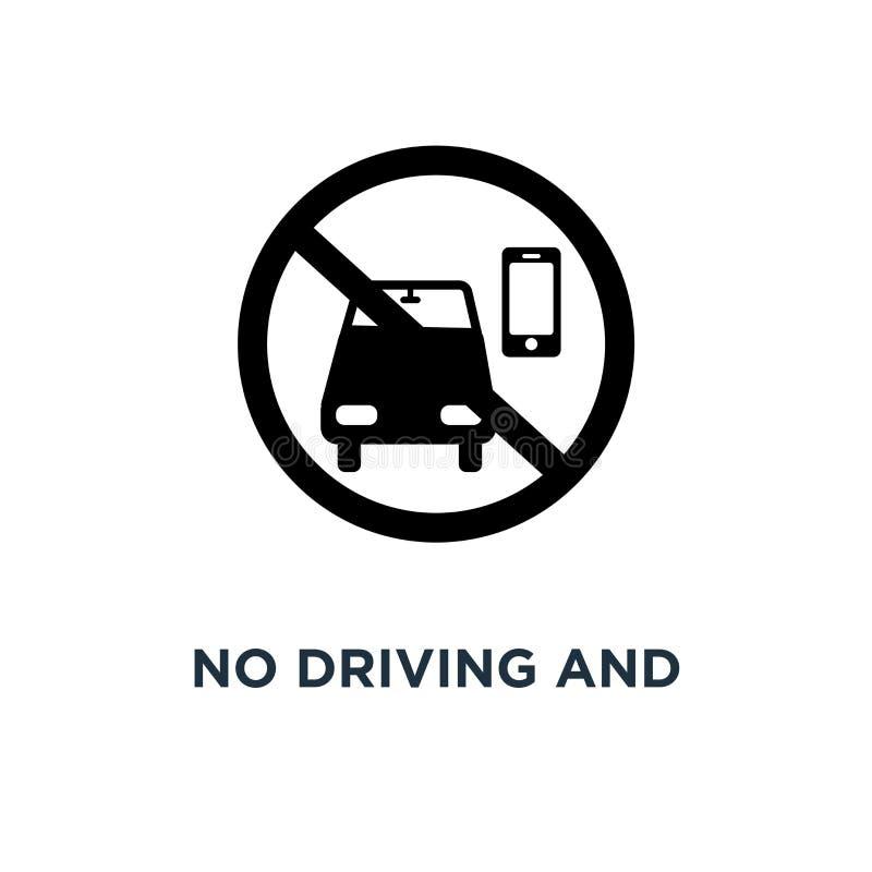 Żadny telefon i jeżdżenie używać ikonę Prosta element ilustracja Nie royalty ilustracja