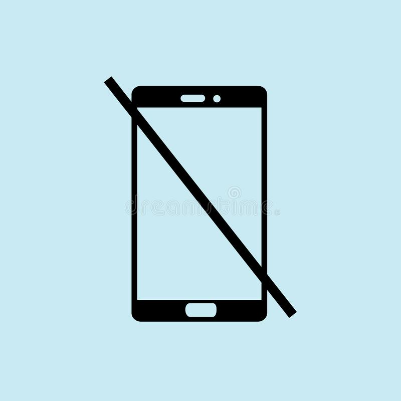 Żadny telefon ikona, błękitny tło wektor ilustracja wektor