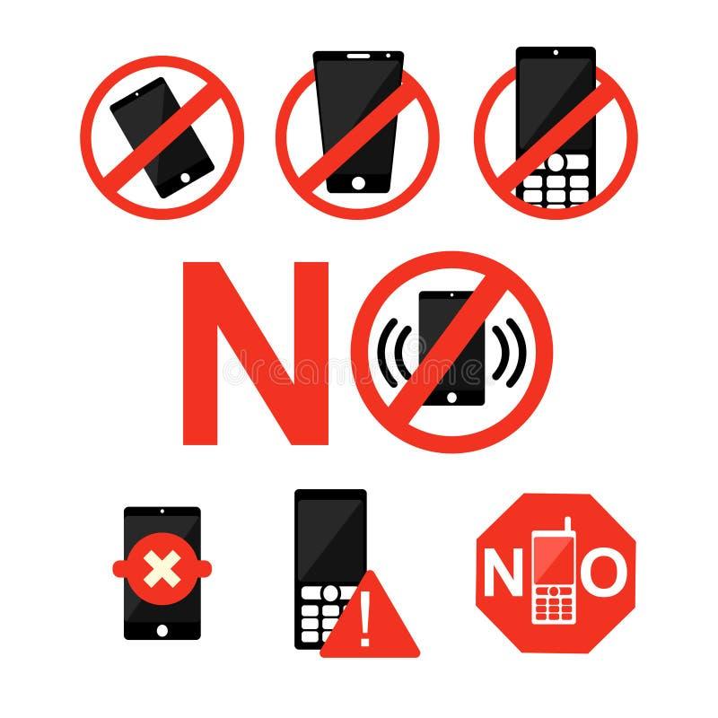 ?adny telefon kom?rkowy strefy symbolu telefon kom?rkowy Zakazuj?cy znak royalty ilustracja