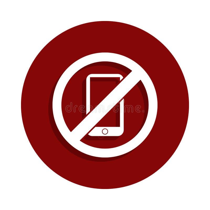 Żadny telefon, zabroniona szyldowa ikona w odznaka stylu Jeden spadek inkasowa ikona może używać dla UI, UX ilustracji