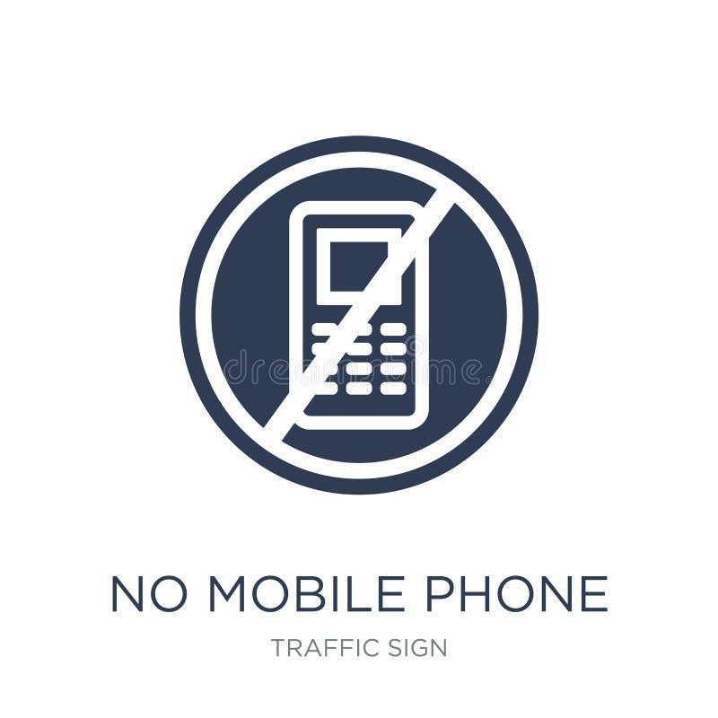 Żadny telefonu komórkowego znaka ikona Modny płaski wektor Żadny telefon komórkowy si royalty ilustracja