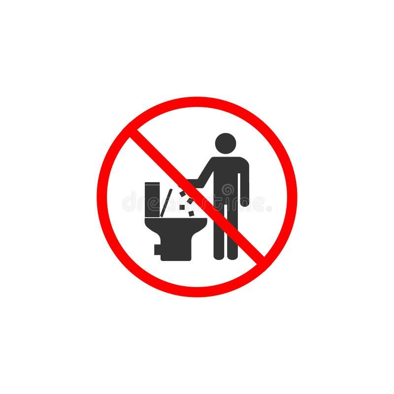 Żadny toaletowa ikona, Żadny śmiecić w toaleta znaku Wektorowa ilustracja, p?aski projekt ilustracja wektor