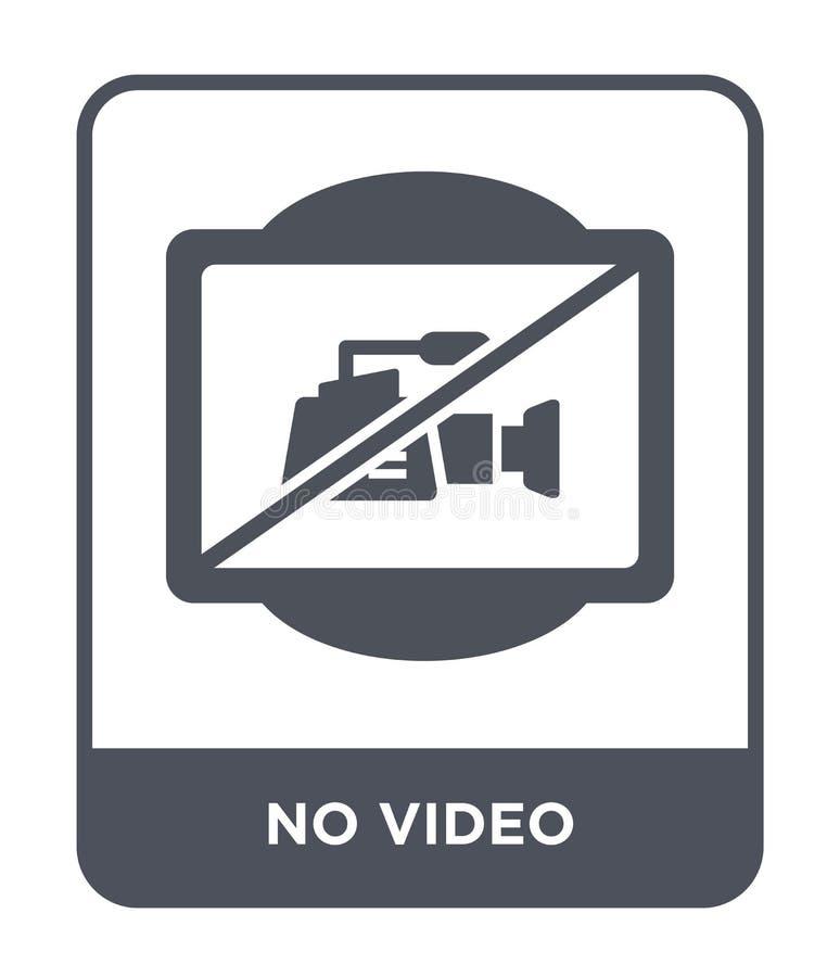 żadny wideo ikona w modnym projekta stylu żadny wideo ikona odizolowywająca na białym tle żadny wideo wektorowej ikony prosty i n ilustracja wektor