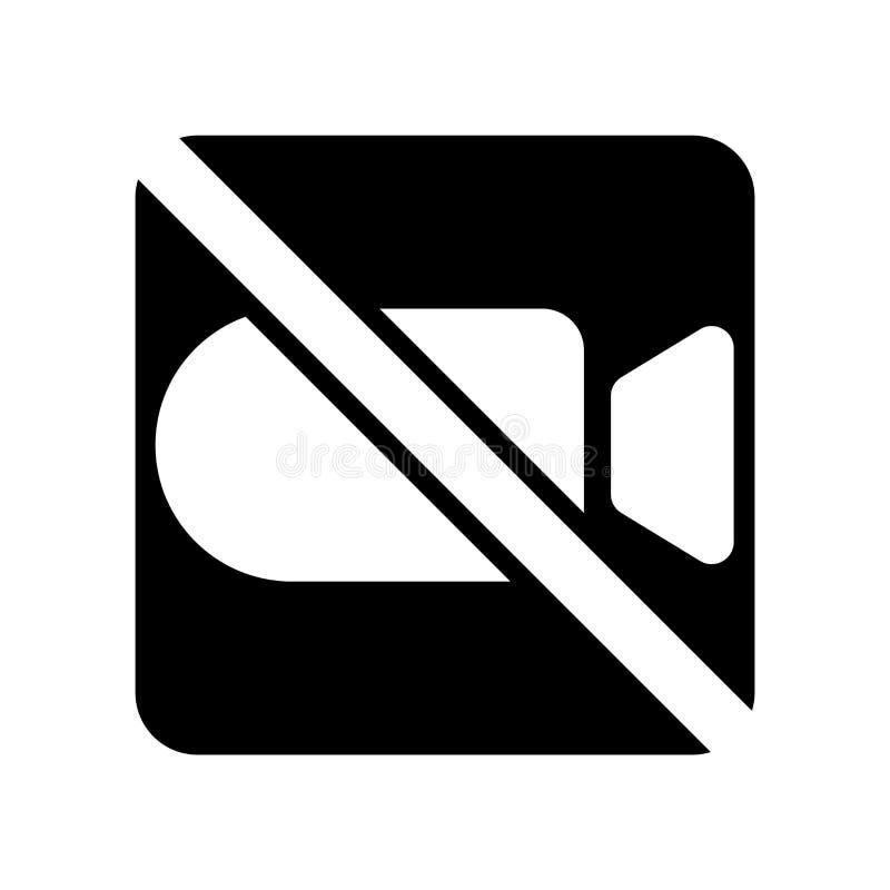 Żadny wideo ikona wektor odizolowywający na białym tle, Żadny wideo znak ilustracji