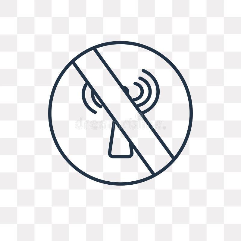 Żadny wifi wektorowa ikona odizolowywająca na przejrzystym tle, liniowy N ilustracji