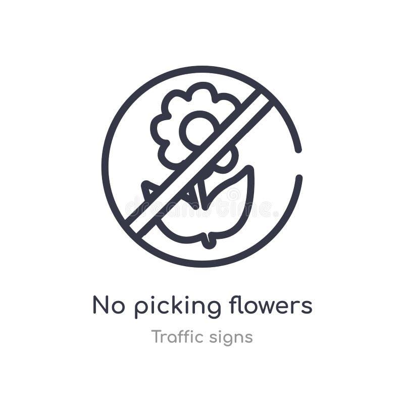 żadny zrywanie kwiatów konturu ikona odosobniona kreskowa wektorowa ilustracja od ruch?w drogowych znak?w inkasowych editable cie royalty ilustracja