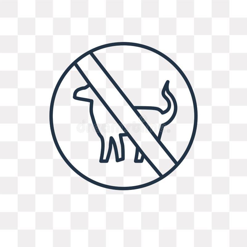 Żadny zwierzę domowe wektorowa ikona odizolowywająca na przejrzystym tle, liniowy N royalty ilustracja
