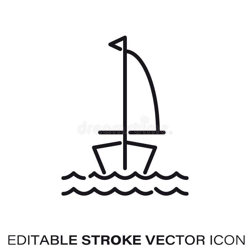 Żagiel łódź w wodnej wektor linii ikonie royalty ilustracja