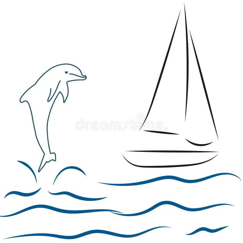 żagiel łodzi delfin i morze, ilustracji