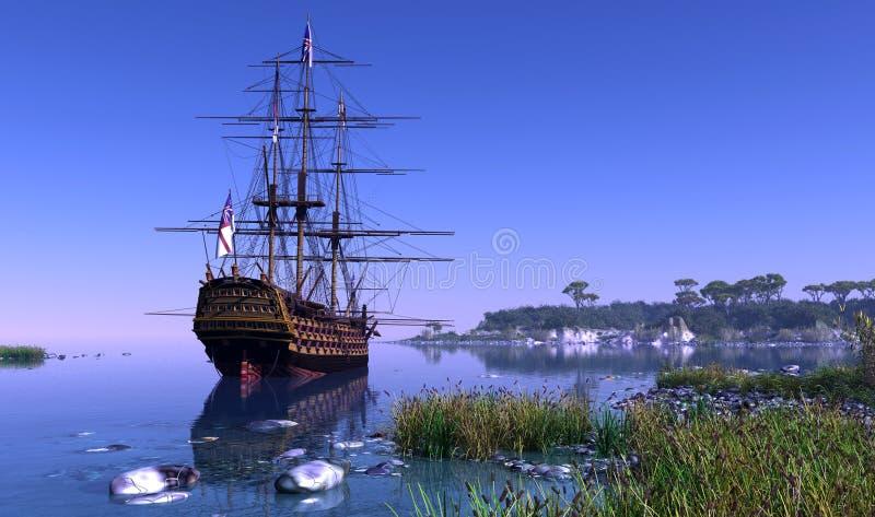 Żaglówka w lagunie ilustracja wektor