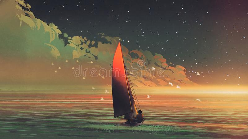 Żaglówka w morzu z wieczór światłem słonecznym ilustracja wektor