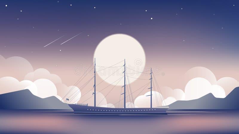 Żaglówka w oceanie z jaskrawą księżyc i mknącymi gwiazdami przy noc krajobrazem royalty ilustracja