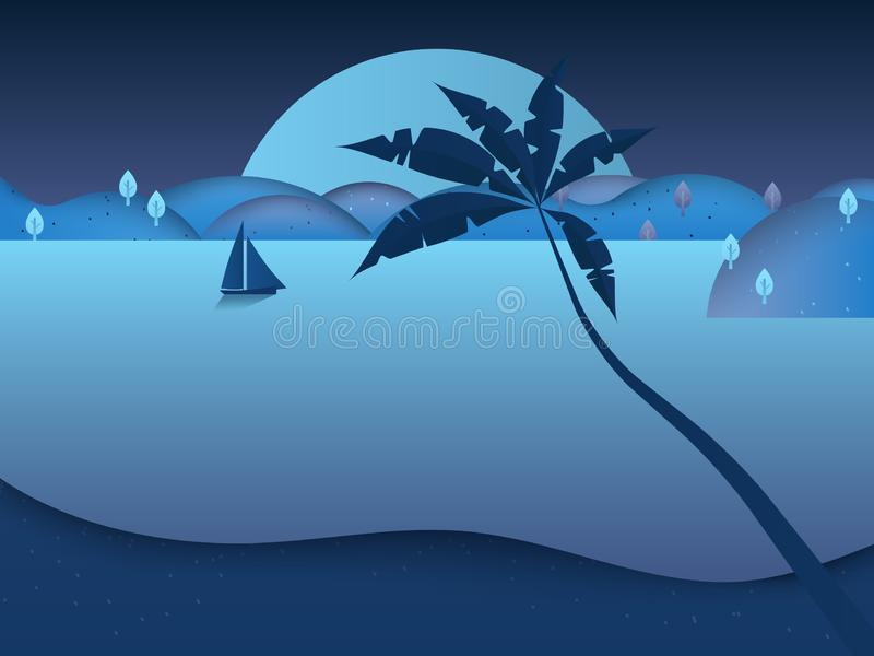 Żaglówki żeglowanie w morzu przy nocą z pięknym księżyc w pełni i góry scenerii krajobrazem ilustracja wektor