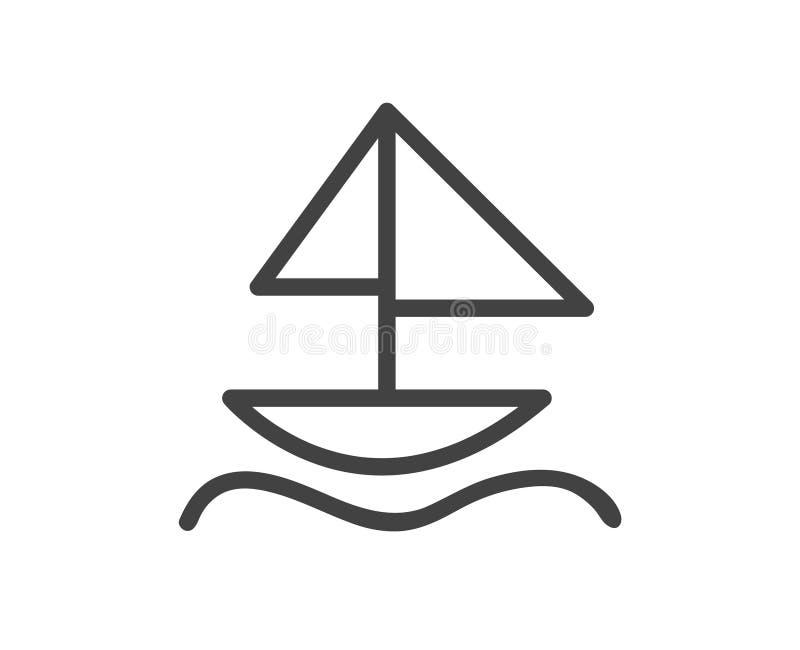 Żaglówki linia za ikonie w czarny i biały Piktograf z żeglowanie łodzią odizolowywającą nad bielem ilustracja wektor