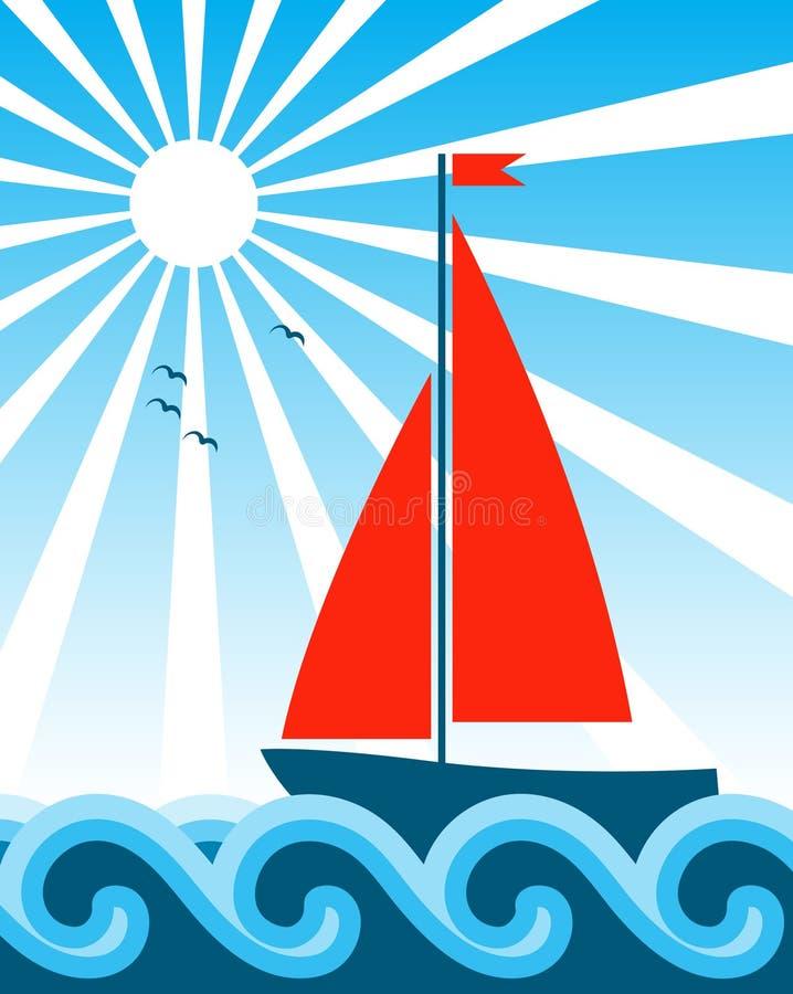 żaglówki morze ilustracja wektor