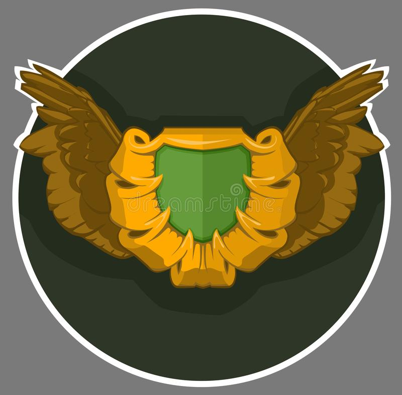 Żakiet ręki z skrzydłami Heraldyczny simbol peleng, osłona dla osoby, rodziny lub korporaci lub, royalty ilustracja