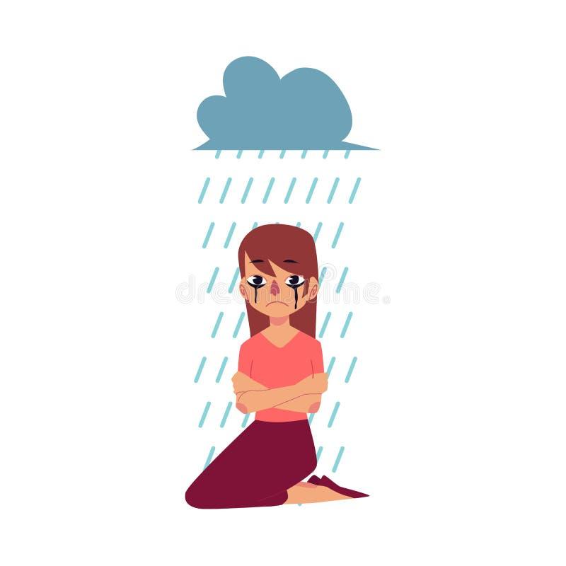 Żal, depresja - kobiety obsiadanie pod podeszczową chmurą ilustracji