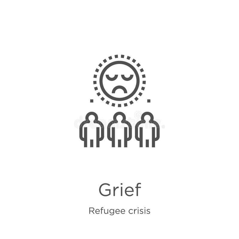 żal ikony wektor od uchodźcy kryzysu kolekcji Cienka kreskowa żalu konturu ikony wektoru ilustracja Kontur, cienieje kreskową żal royalty ilustracja