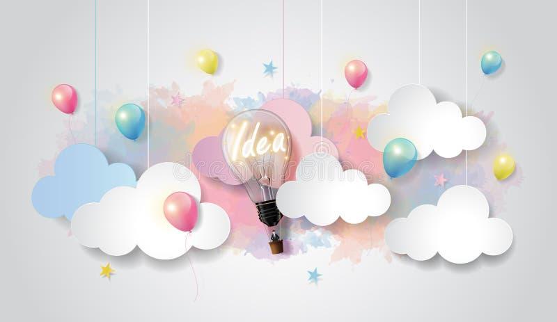 Żarówka balon na kolorowym akwareli chmury i nieba tle, Biznesowego rozpoczęcia pojęcie, tapetuje cięcie projekta styl, wektorowy ilustracji