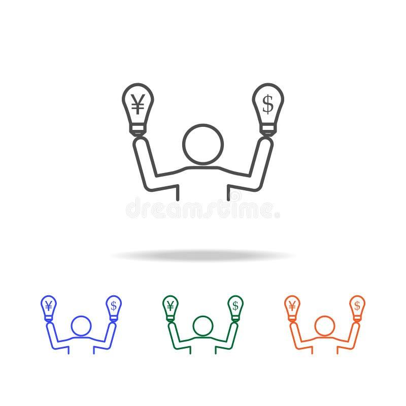 żarówka dolar i euro ikona Elementy wojna handlowa w wielo- barwionych ikonach Premii ilości graficznego projekta ikona Prosta ik ilustracja wektor