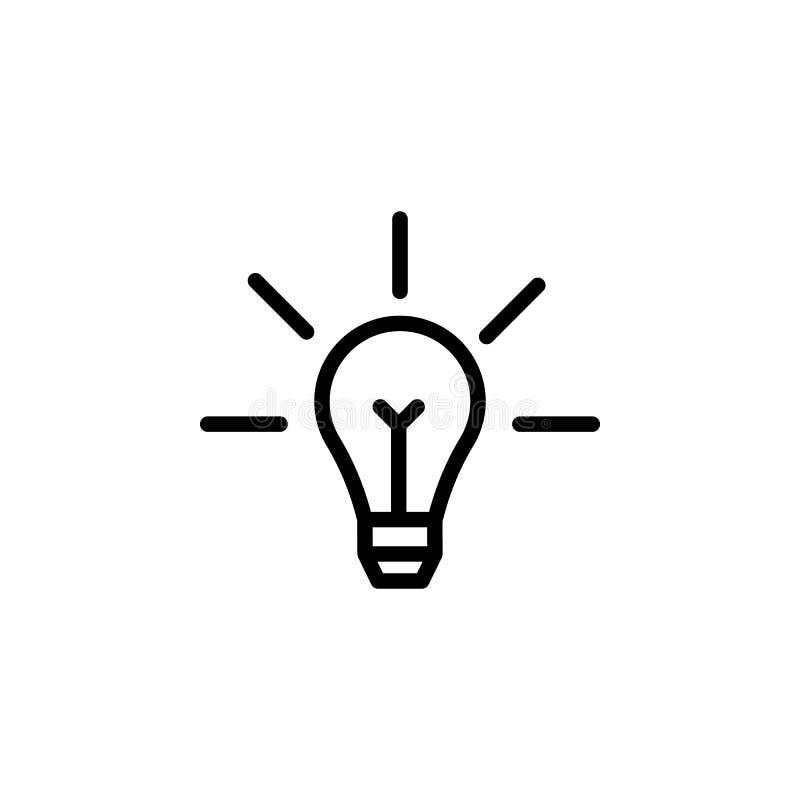 Żarówka, ikona pomysłu. Ikona Element wykształcenia. Ikona cienkiej linii ilustracja wektor