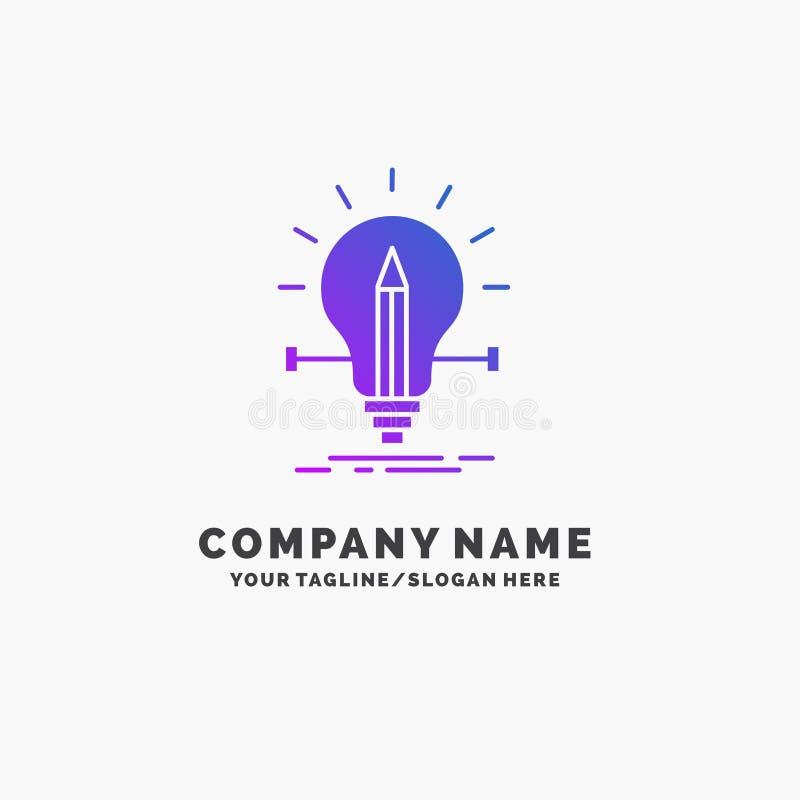 żarówka, kreatywnie, rozwiązanie, światło, ołówkowy Purpurowy Biznesowy logo szablon Miejsce dla Tagline royalty ilustracja