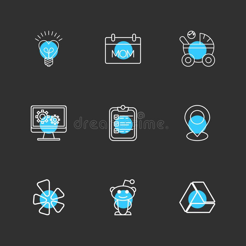 żarówka, mama, param, monitor, schowek, nawigacja, przejażdżka, soc royalty ilustracja