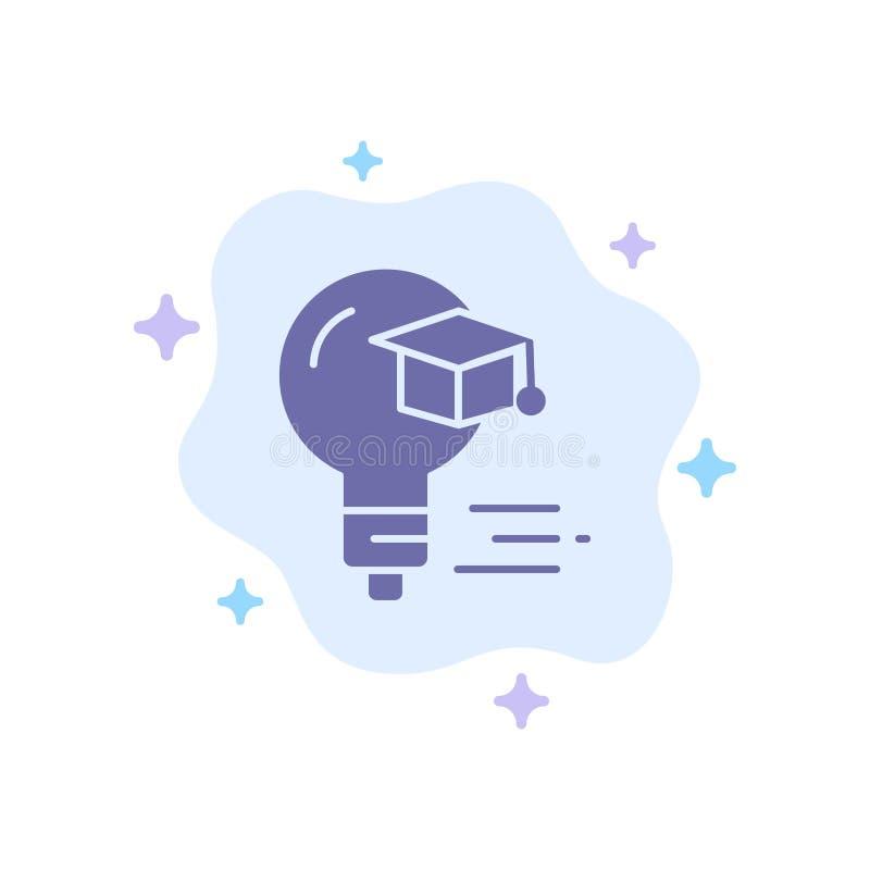 Żarówka, nakrętka, edukacja, skalowanie Błękitna ikona na abstrakt chmury tle ilustracja wektor